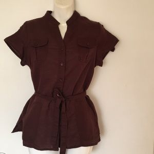 🎈 Sarah Spencer brown tunic size Small